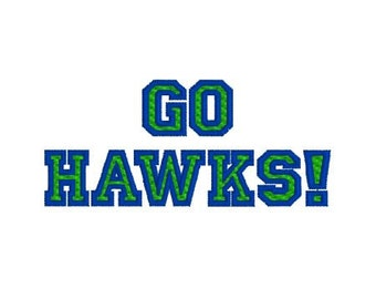 Embroidery Design Pattern Seattle Seahawks, Go Hawks! for 12th Man Superbowl Football Fan