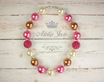 Pink Gold Chunky Baby Necklace, Girls Chunky Necklace, Chunky Bubblegum Necklace, Little Girl Birthday Outfit, Baby Jewelry Toddler Necklace