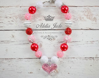 Chunky Bubblegum Necklace, Pink Heart Valentine's Day Baby Girl Chunky Necklace, Girls Bubblegum Necklace, Bubble Gum Children Necklace