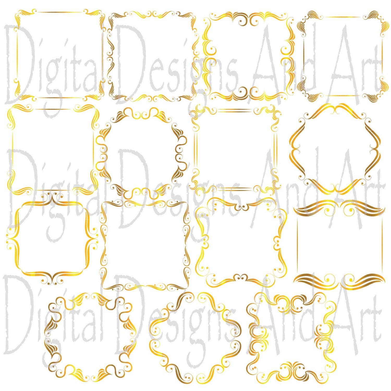 Wedding Borders: Gold Square Frames Wedding Borders Gold Wedding Clipart