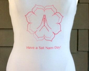 Yoga Racerback Tank top Sat Nam on White