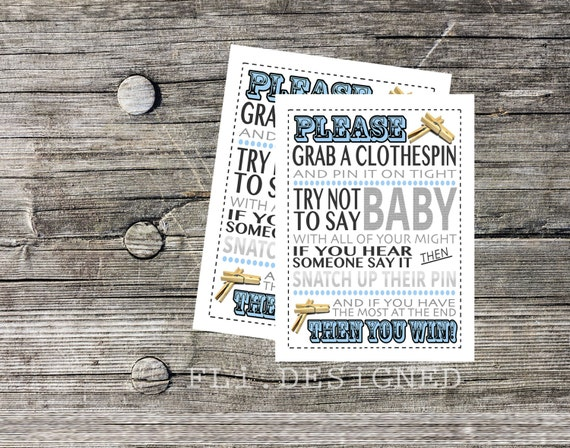 don 39 t say baby clothes pin baby shower game directions baby boy