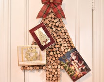 Christmas Card Holder, Wine Cork Christmas Tree Card Holder with Red & Green Plaid Bow, Wine Cork Card Holder
