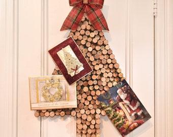 Christmas Card Holder, Wine Cork Christmas Tree Card Holder with Red & Green Plaid Bow, Wine Cork Card Holder