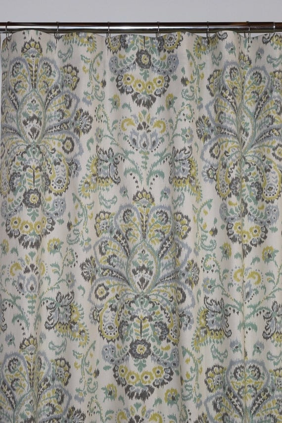... curtain Provence Mist Spa green grey chartreuse long shower curtain