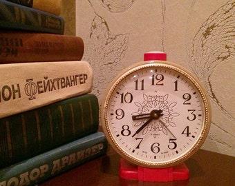"Working Vintage Clock ""Jantar""  4.3""- Soviet clock - mechanical alarm clock - Vintage Alarm Clock"