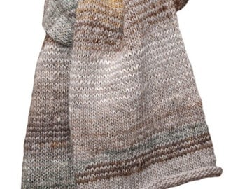 Hand Knit Scarf - Cream Striped Keepsake Wool