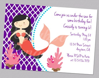 Mermaid Invitations, Birthday Party Invites, Girl's Birthday Invitations, Kid's Birthday, Ocean Invites, Underwater Party Invites, Digital
