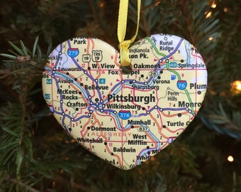 Pittsburgh Map Ornament