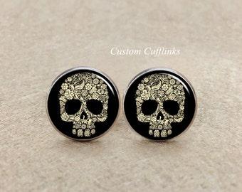 Skull Cufflinks Men's Cufflinks Pirate Cufflinks  skull cufflinks antique or silver  Gothic Victorian Steampunk Cufflinks,Skull Jewelry gift