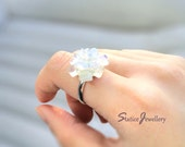 Raw Milky Opal Ring, Rough Moonstone Natural White Crystal Gemstone Silver Ring, Simple Everyday Jewelry, Birthday Present Wedding Gift