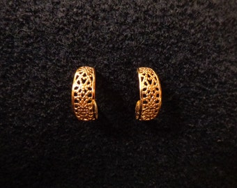 Textured Gold Tone Lattice Hoops
