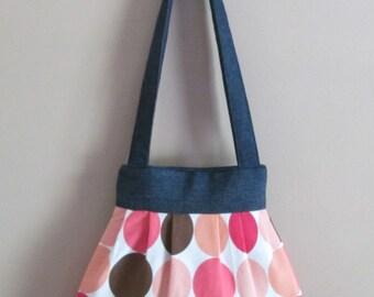 Pleated Shoulder Handbag, Small Polka Dot