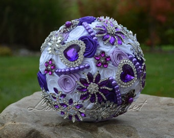 Full Price - Purple Wedding Brooch Bouquet Purple Bouquet Brooch Bouquet Crystal Rhinestone Pearl Bouquet
