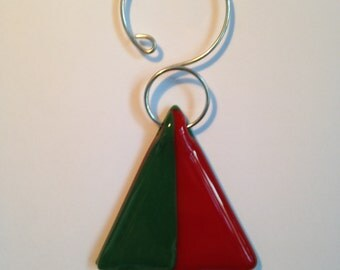 Red and green fused glass Christmas tree ornament