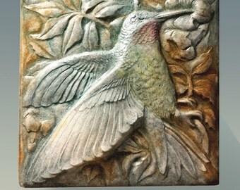 Hummingbird Art, Nature, Sculpture, Wall Tile, Wall Sculpture, Wall Art, Handmade, Art Tile, Garden Art, Unique, Collectible, Bird, Nectar