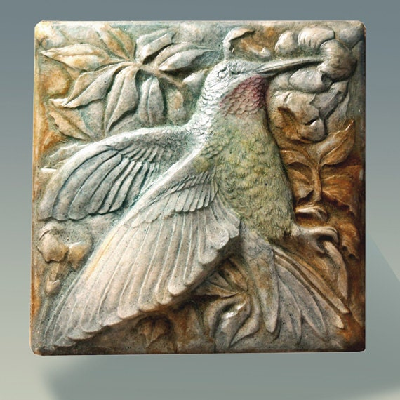 Hummingbird stone sculpture tile bas relief wall by