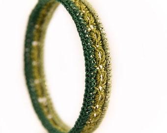 Crocheted bangle - womens gift - crochet bangle - gift ideas for women - green bangle - crochet jewelry - boho jewelry - christmas gift
