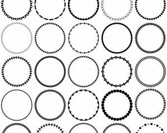 25 Circle Frames Clip Art, Round Frame Clip Art, Digital Graphics, Digital Clipart, Circle Frames, Frames Clipart, Circle Labels