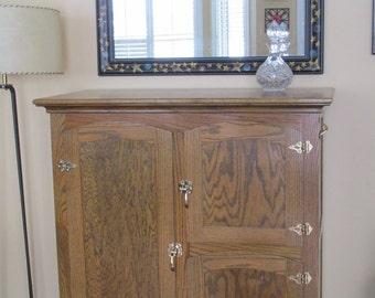 Ice Chest, Liquor Cabinet, Wine Cabinet, Reproduction, Solid Oak