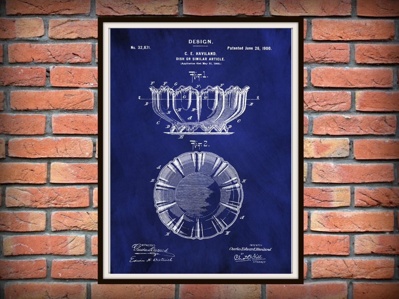 Poster design 1900 - Patent 1900 Haviland Limoges Dish Or Bowl China Design Patent Art Print Poster Limoges France Wall Decor Kitchen Item China