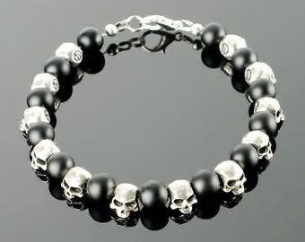 Skull Bracelet - Skull hand bracelet with black onyx, silver plated skull bead and 20 colors to choose!
