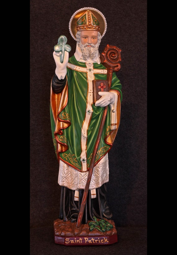 "St. Patrick 20"" Bishop Catholic Christian Plaster Irish Statue"