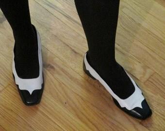 Vintage Christian Lacroix Flats- Black and White Wingtip