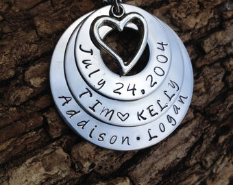 Personalized Hand Stamped Family Necklace with Three Stainless Steel Washers and Heart Charm