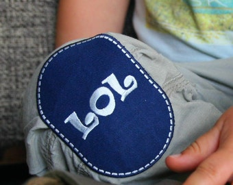 Two LOL embroidered iron-on knee patches (sold in pair)