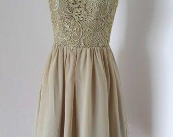 2015 V-back Lace Chiffon Short Bridesmaid Dress
