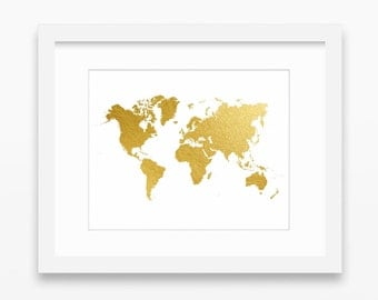 World map print, gold print, gold decor, map print, world map printable, gold prints, gold map decor, gold wall art, instant download, 14x11