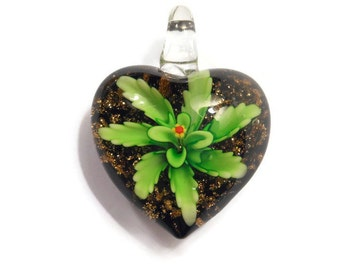 1 Glass Heart Pendant Green Flower Lampwork 31x40mm - Free Combined Shipping