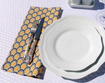 GOLDEN YELLOW & INDIGO Blue Cloth Lunch Napkins ~ Set of 4, Spring, Summer, Eco-Friendly