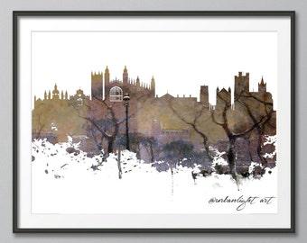 Cambridge Skyline, United Kingdom Skyline, Urban Silhouette, Architecture, University,  Cityscape, Art Print, Poster, Modern Art, Painting