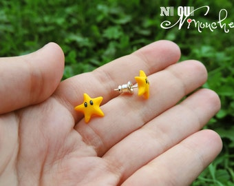 Yellow stars (fimo) geek mario Stud studs earrings