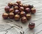 Czech glass melon beads luster iris opaque red 8mm  pack of 20