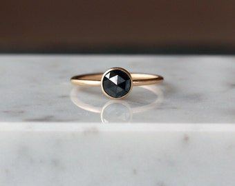 Black Diamond Ring, Rose Cut Diamond Ring, Satin Matte Ring, 14k Yellow Gold Engagement Band, Diamond Solitaire, Unique Engagement Ring