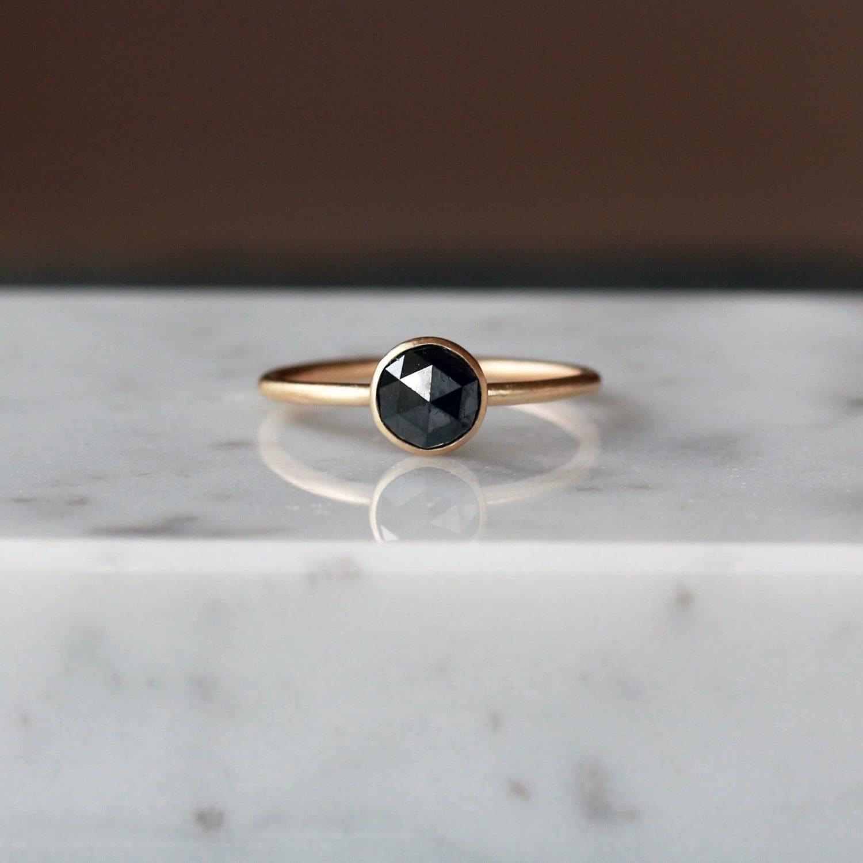Black Diamond Ring Rose Cut Diamond Ring Satin Matte Ring