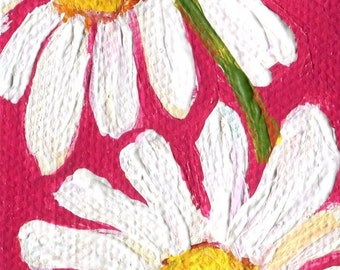 Shasta Daisy Painting Mini Painting, Easel, 2 x 4, dark pink background acrylic painting, mini canvas, small acrylic painting canvas art