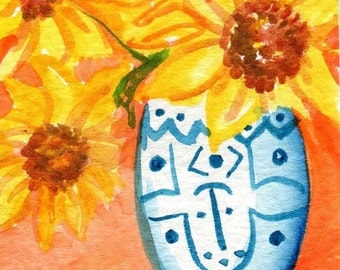 ACEO Sunny Yellow Sunflowers small watercolor painting, flower art card,  Sunflowers in Blue and White Vase, original watercolors painting