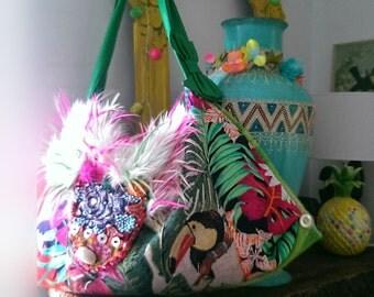 Wild Cactus Toucan Bag, Tropical, Beaded, Furry, Large Bag, Colourful, Jungle, Shell, Boho Bag, Bohemian