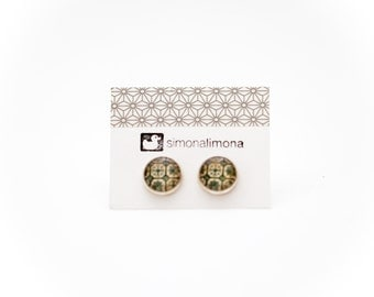 Tile Design Abstract Stud Earrings, Cute 12mm Round Green Post Earrings, Wearable Art, Tile Artwork, Tile Jewelry, ON SALE