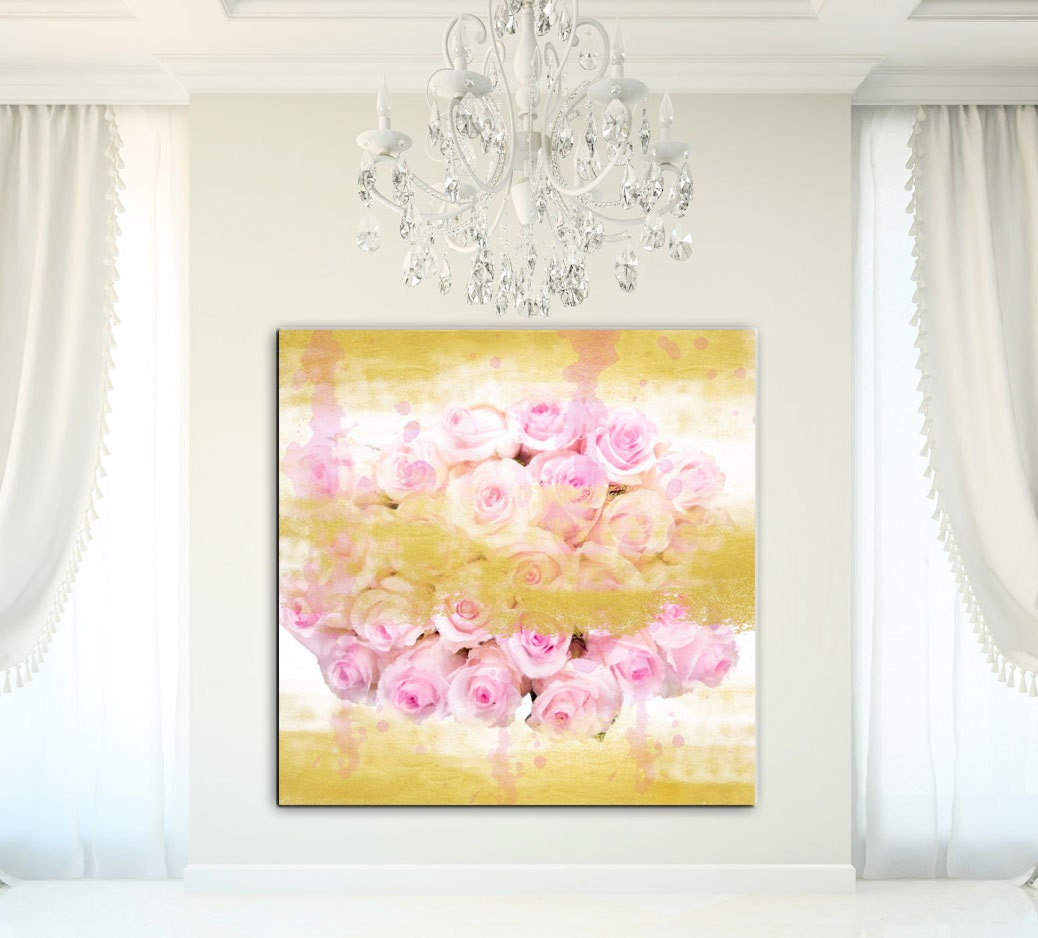 Large Floral Canvas Wall Art Print Gold Canvas Gold By