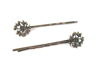 10 flower filigree bobby pins brass 14x60mm