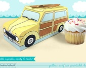 yellow woody surf car -  cupcake box holds cookies and treats, gift and favor box, party centerpiece printable PDF kit - INSTANT download
