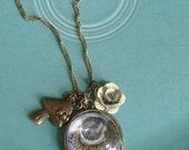 New~Glass Artist Pendants, Wearable Art In Beautiful Antique Brass, Baby Bird Illustration By Artist Dawn Hitchcock, Jewelry, Print, Animals