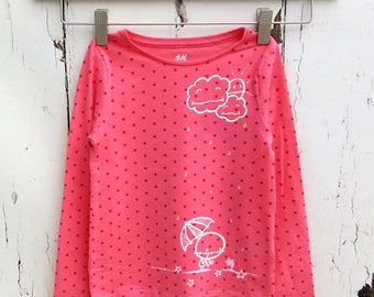 Pink Rainy Day (2yrs) Cute Zombie top Stormy Angry Clouds Loverocky Long sleeve Organic sweater Stars by Love Rocky the Zombie