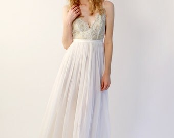 Chiffon and Lace V-Neck Wedding Gown - Maisey
