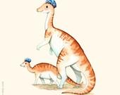 Watercolor painting, Dinosaur poster, Dinosaur art, Dinosaur painting, Dinosaur wall art, Boys room, C is for Corythosaurus